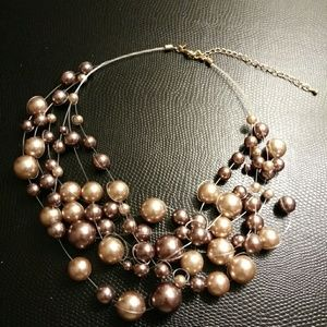 Jewelry - Faux Pearl Necklace Multi Strand Light Brown